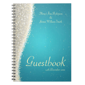 Wedding Guestbook Dazzling Sparkles Turquoise Notebooks