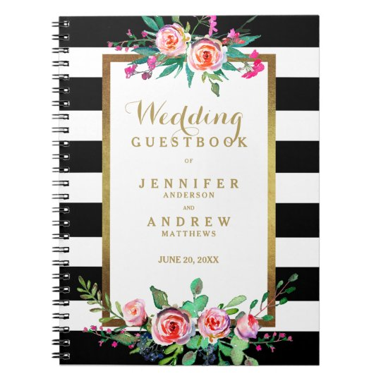 Wedding Guestbook Elegant Chic Gold Black Floral Notebook