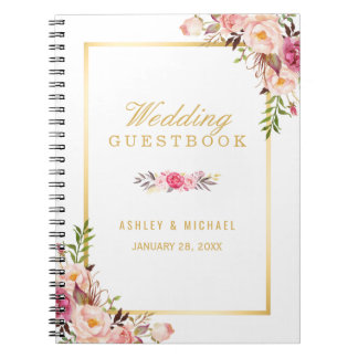 Wedding Guestbook - Elegant Chic Gold Pink Floral Spiral Notebook