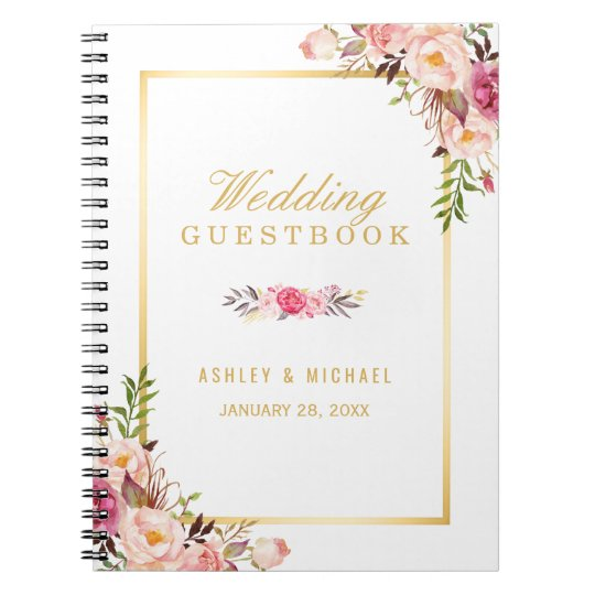 Wedding Guestbook - Elegant Chic Gold Pink Floral