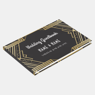 Wedding GuestBook Gatsby Art Deco 1920's Gold