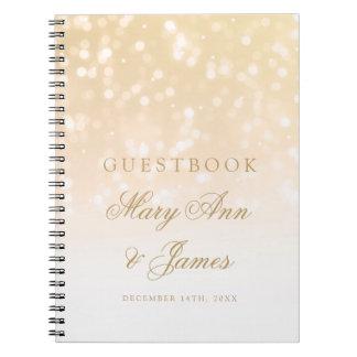 Wedding Guestbook Gold Bokeh Sparkle Lights Notebook