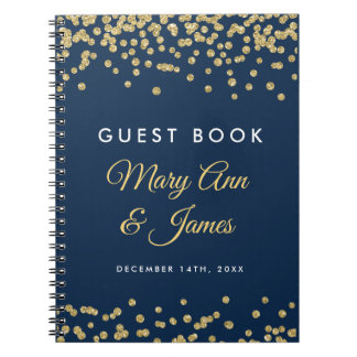 Wedding Guestbook Gold Faux Glitter Confetti Navy Notebooks