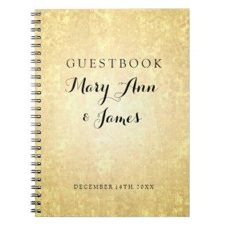 Wedding Guestbook Gold Foil Look Stars Confetti Notebook