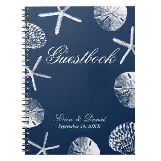 Wedding Guestbook | Navy Blue Beach Theme Seashell Spiral Notebook