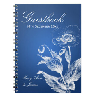 Wedding Guestbook Poppy Blue Notebooks