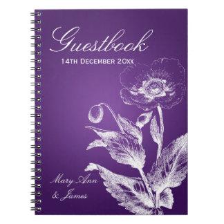 Wedding Guestbook Poppy Purple Notebook