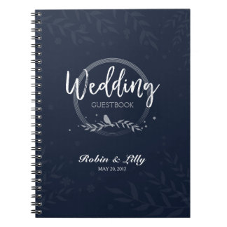 Wedding Guestbook - Rustic Bird on Leaves Floral Note Books
