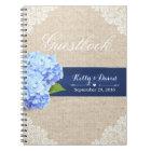 Wedding Guestbook | Rustic Hydrangea Lace & Burlap Notebook