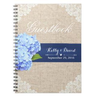 Wedding Guestbook | Rustic Hydrangea Lace & Burlap Spiral Notebooks