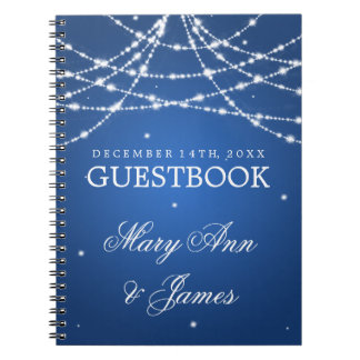 Wedding Guestbook Sparkling String Blue Note Books