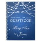 Wedding Guestbook Sparkling String Blue Notebook