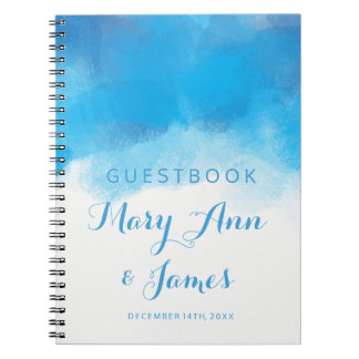 Wedding Guestbook Summer Blue Watercolor Spiral Notebook
