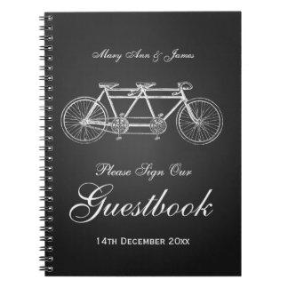 Wedding Guestbook Tandem Bike Black Spiral Notebook