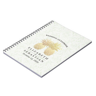 Wedding Guestbook Vintage Gold Pineapple Couple Notebook