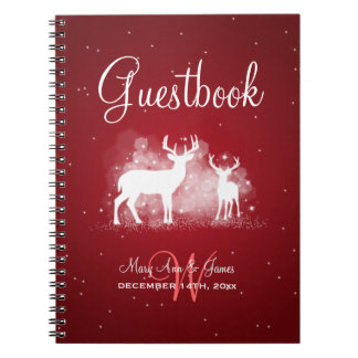Wedding Guestbook Winter Deer Sparkle Red Notebook