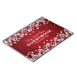 Wedding Guestbook Winter Sparkle Red Spiral Note Book