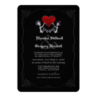 Wedding Halloween Skeletons Two Souls - Costumes 13 Cm X 18 Cm Invitation Card