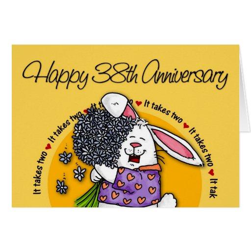 38 Year Wedding Anniversary Gift: Wedding - Happy 38th Anniversary Greeting Card