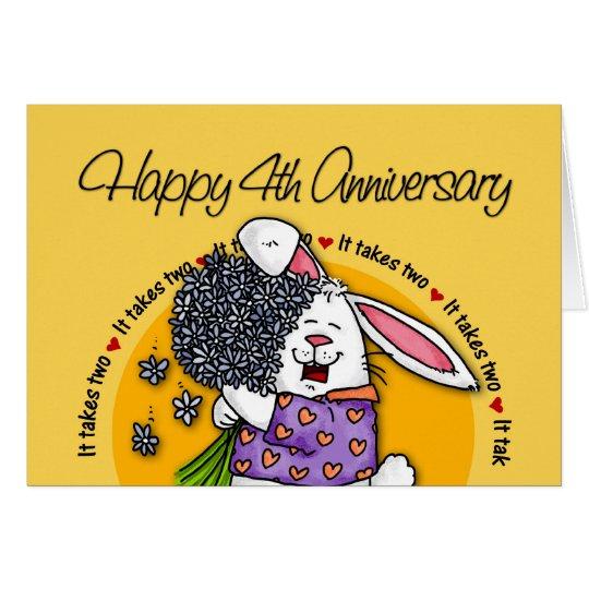 Wedding - Happy 4th Anniversary Card