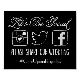 Wedding Hashtag Sign (Choose your color) Poster