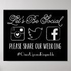 Wedding Hashtag Sign (Choose your colour)