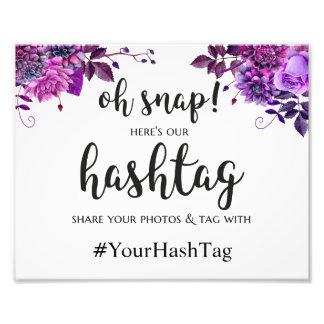 Wedding hashtag sign. Purple instagram poster