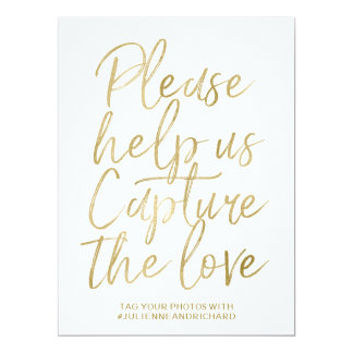 Wedding Hashtag Sign | Stylish Gold Hand Lettered Card