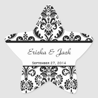 Wedding Heart Damask Black and White Envelope Star Sticker
