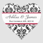 Wedding Heart Damask Black and White Red A04