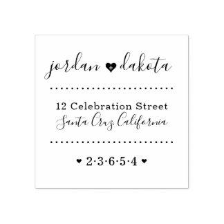 Wedding Hearts Custom Names Script Return Address Rubber Stamp