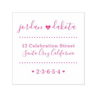 Wedding Hearts Custom Names Script Return Address Self-inking Stamp