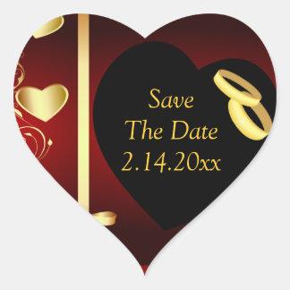 Wedding Hearts Golden Rings Heart Sticker