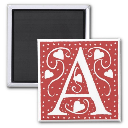 Wedding Hearts Letter A Magnet