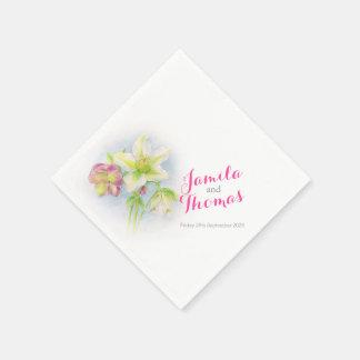 Wedding hellebores green pink paper napkins