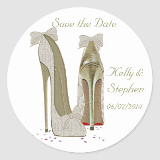 Wedding High Heels Paper Products Classic Round Sticker
