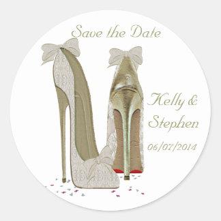 Wedding High Heels Paper Products Round Sticker