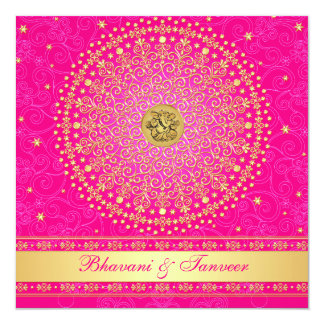 Wedding | Hindu | Ganesh | Pink, Gold | Scrolls 13 Cm X 13 Cm Square Invitation Card