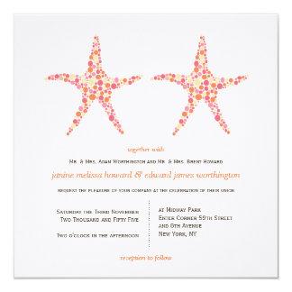 Wedding Honeysuckle Peach Starfish Beach Invite