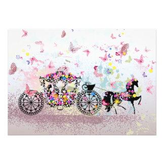 Wedding Horse Carriage Flowers Butterflies Card