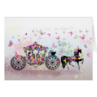 Wedding Horse & Carriage Flowers & Butterflies Card
