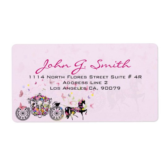 Wedding Horse & Carriage Flowers & Butterflies Shipping Label