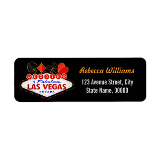 Wedding in Fabulous Las Vegas Neon Sign Poker Return Address Label
