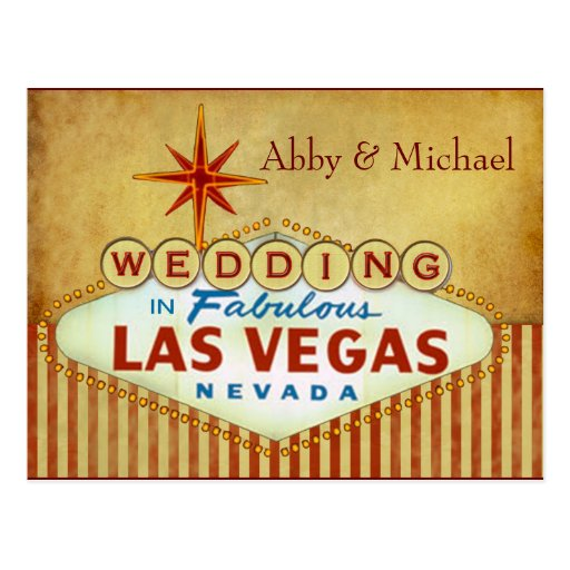 Wedding in Fabulous Las Vegas - Vintage Stripes Post Cards