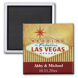 Wedding in Fabulous Las Vegas - Vintage Stripes Square Magnet