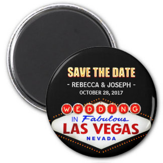 Wedding in Las Vegas Sign - Neon Save the Date 6 Cm Round Magnet