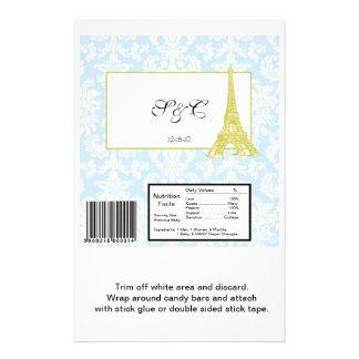 Wedding in Paris Blue Damask Large Candy Wrapper 14 Cm X 21.5 Cm Flyer