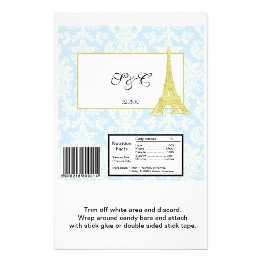 Wedding in Paris Blue Damask Large Candy Wrapper Personalized Flyer