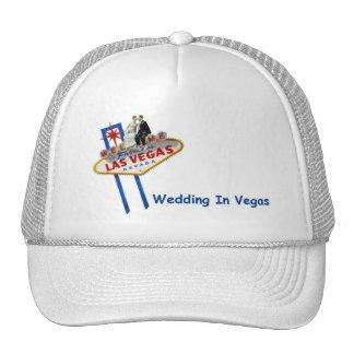 WEDDING In Vegas Bride & Groom on LV Sign Cap Mesh Hat