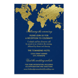 Wedding Information Card | Gold World Map 9 Cm X 13 Cm Invitation Card